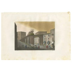 Antique Print of the Entrance to the Bazaar of Jerusalem by Ferrario '1831'