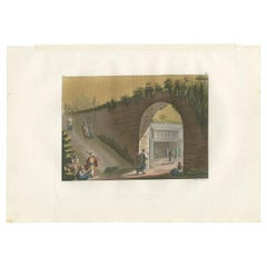 Antique Print of the Entrance to the Tomb of Absalom by Ferrario '1831'