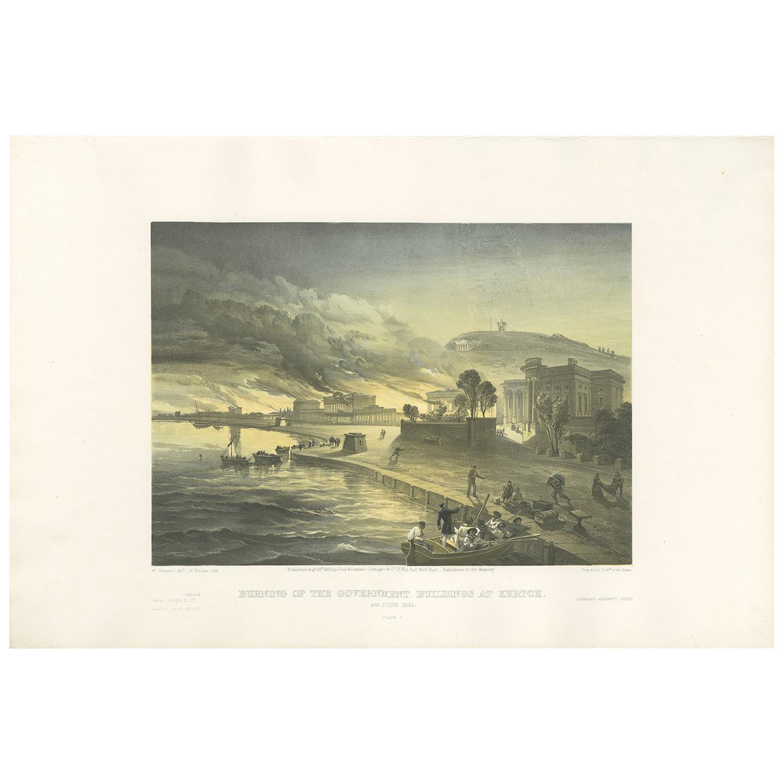 Antique Print of the Fire at Kertch 'Crimean War' by W. Simpson, 1855