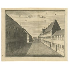 Antique Print of the First Square of the Castle of Batavia by Valentijn, '1726'