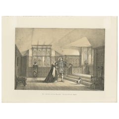 Antique Print of the Gallery of Hever Castle by Nash, circa 1870