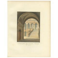 Antique Print of the Giant's Staircase in Venice, 15th Century, by Bonnard, 1860