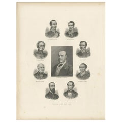 Antique Print of the Governors of New South Wales, 1888