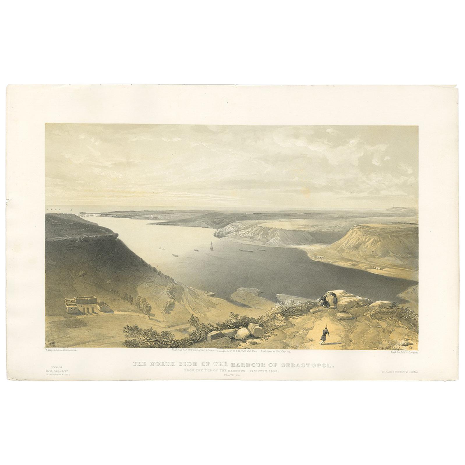 Antique Print of the Harbour of Sebastopol 'Crimean War' by W. Simpson, 1855