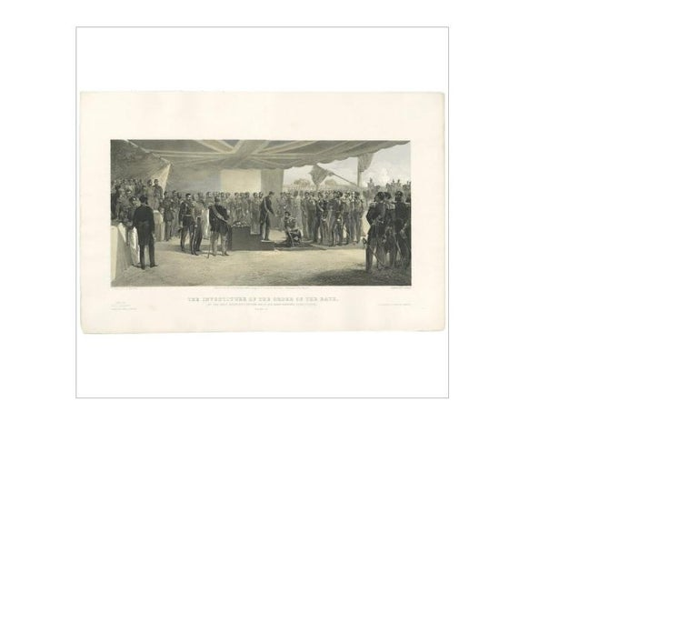 Antique print titled 'The Investiture of the Order of the Bath. At the Head Quarters of the British Army before Sebastopol'. The ceremony was held with the British Ambassador at Constantinople, Stratford Canning, First Viscount Stratford de
