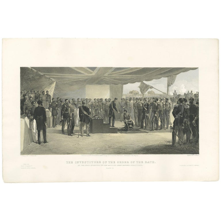 Antique Print of the Head Quarters of the British Army by W. Simpson, 1855 For Sale