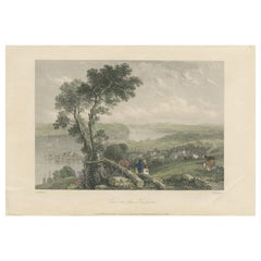 Antique Print of the Hudson River by Willmore, '1842'