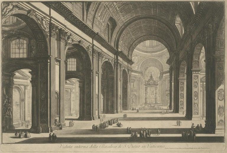 Antique print titled 'Veduta interna della Basilica di S. Pietro in Vaticano'. View of the interior of St Peter's Basilica in the Vatican, Rome. Published after Piranesi, circa 1820.