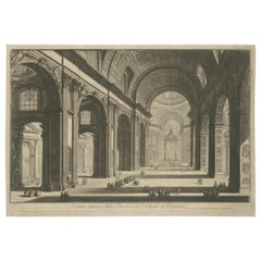 Antique Print of the Interior of St Peter's Basilica in the Vatican, c.1820