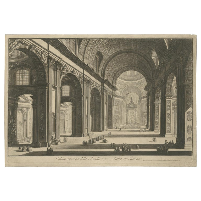 Antique Print of the Interior of St Peter's Basilica in the Vatican, c.1820 For Sale