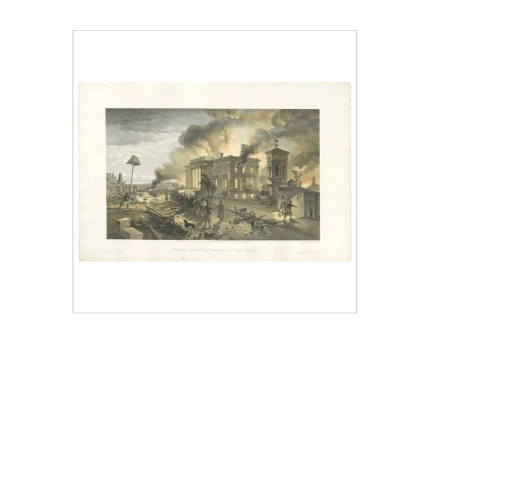 Antique print titled 'Public Library & Temple of the winds'. Destruction of the public library and the Temple of the Winds following the Russian evacuation of Sevastopol' on September 8th 1855. This print originates from 'The Seat of the War in the