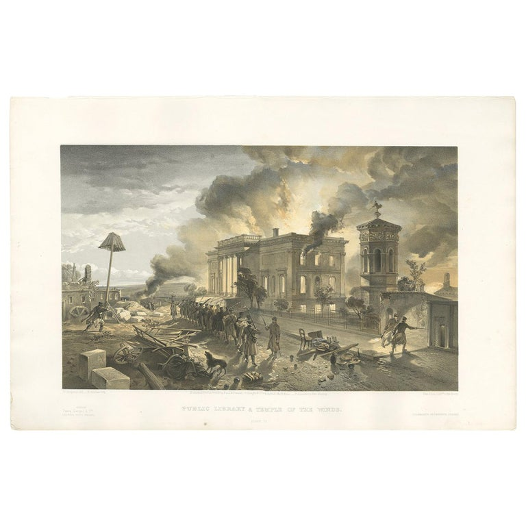 Antique Print of the Library at Sebastopol 'Crimean War' by W. Simpson, 1855 For Sale