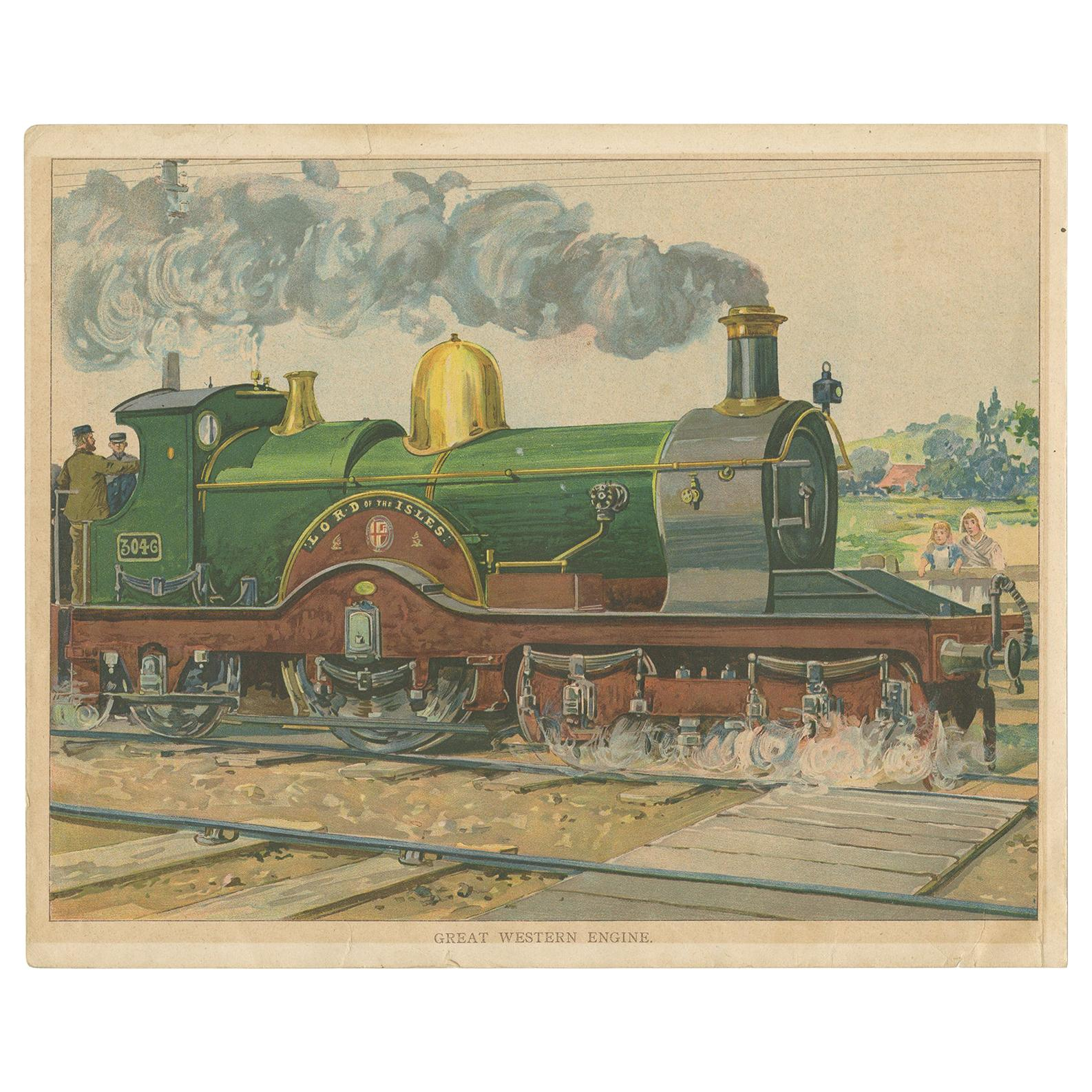 Antique Print of the Lord of the Isles Train 'circa 1900'