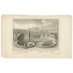 Antique Print of the Lower Cascade by Wolff '1737'