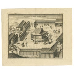 Antique Print of the Main Shintô Shrine at Ise by Kaempfer, '1733'