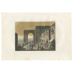 Antique Print of the Main Street of Bethlehem by Ferrario, '1831'