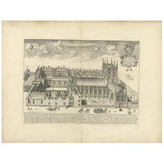 Antique Print of the Merton College in Oxford by Loggan '1675'