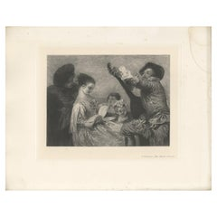 Antique Print of 'The Music Lesson' Made after A. Watteau '1902'