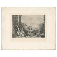 Antique Print of 'The Music Party' Made after A. Watteau '1902'