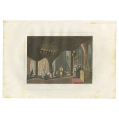 Antique Print of the Nativity Grotto by Ferrario '1831'