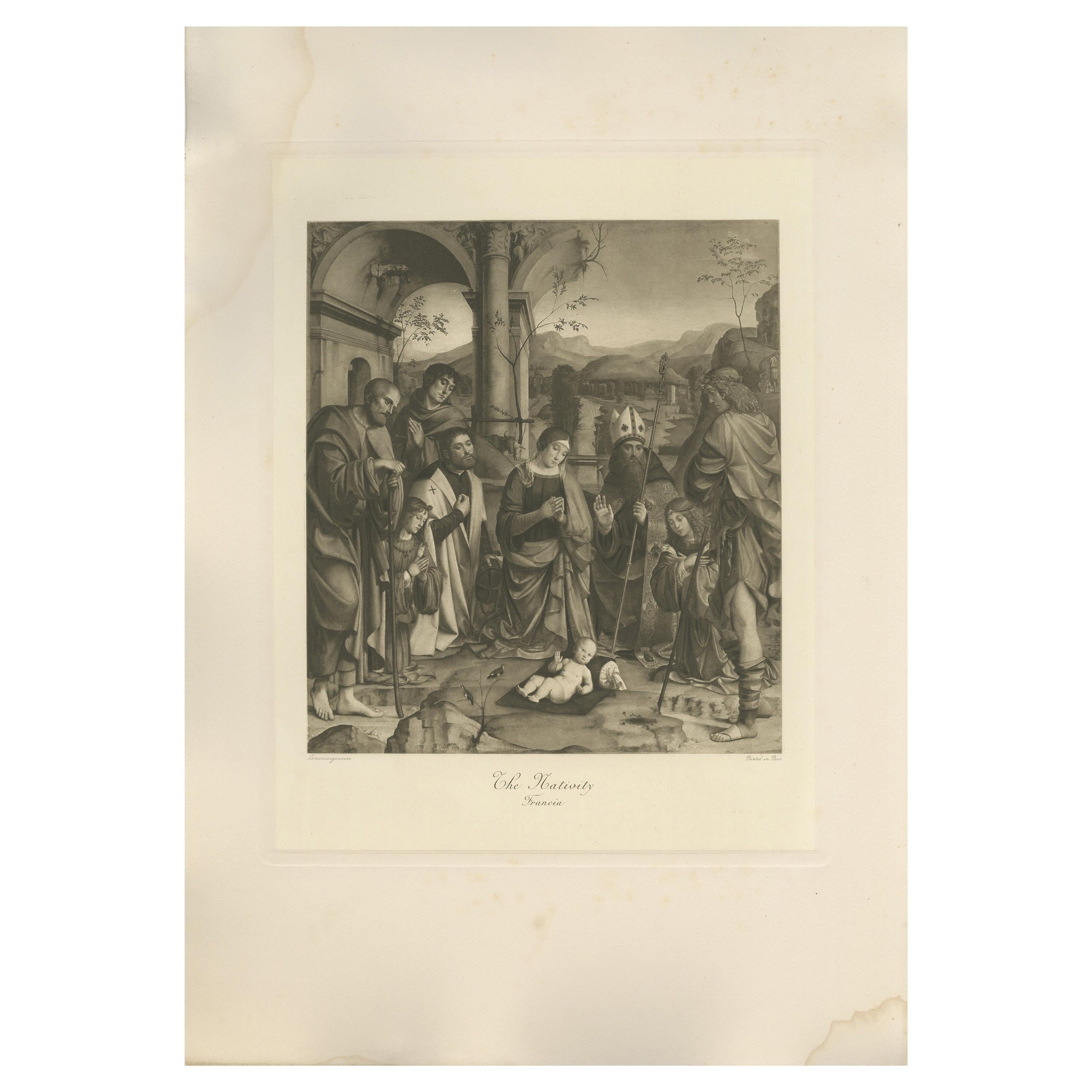 Antique Print of 'the Nativity' Made After Francia 'c.1890'