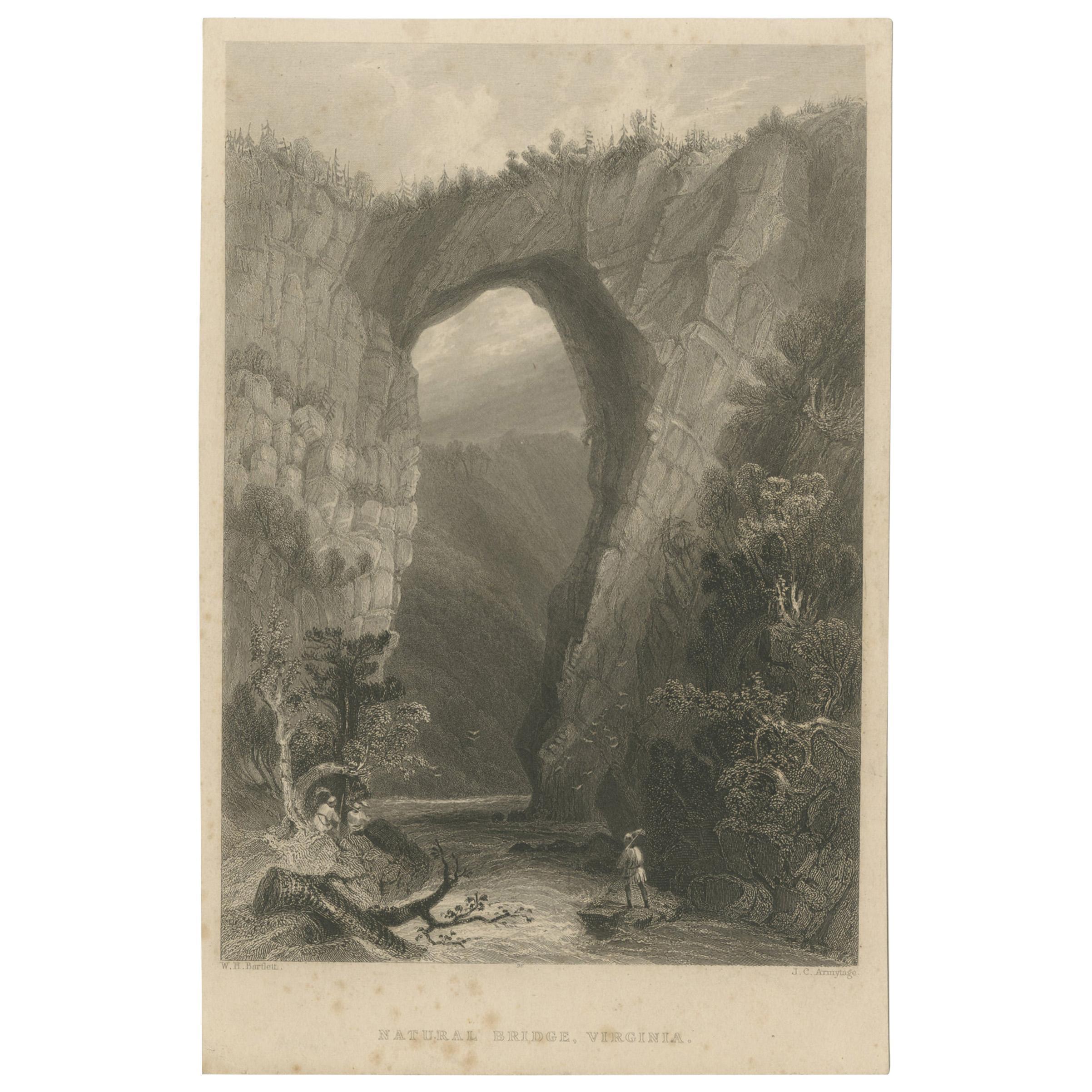 Antique Print of the Natural Bridge of Viriginia, circa 1860