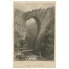 Antique Print of the Natural Bridge of Viriginia, circa 1860