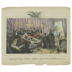 Antique Print of the Opening of Napoleon's Casket on St. Helena. 'c.1900'