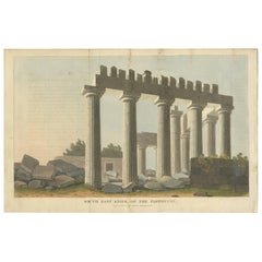 Antique Print of the Parthenon Temple by Hobhouse, 1813