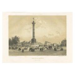 Antique Print of the Place de la Bastille by Benoist, 1861