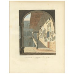 Antique Print of the Podestat Palace in Florence, Italy, by Bonnard, 1860