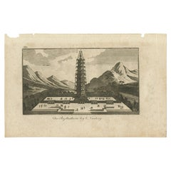 Antique Print of the Porcelain Tower of Nanjing, circa 1840