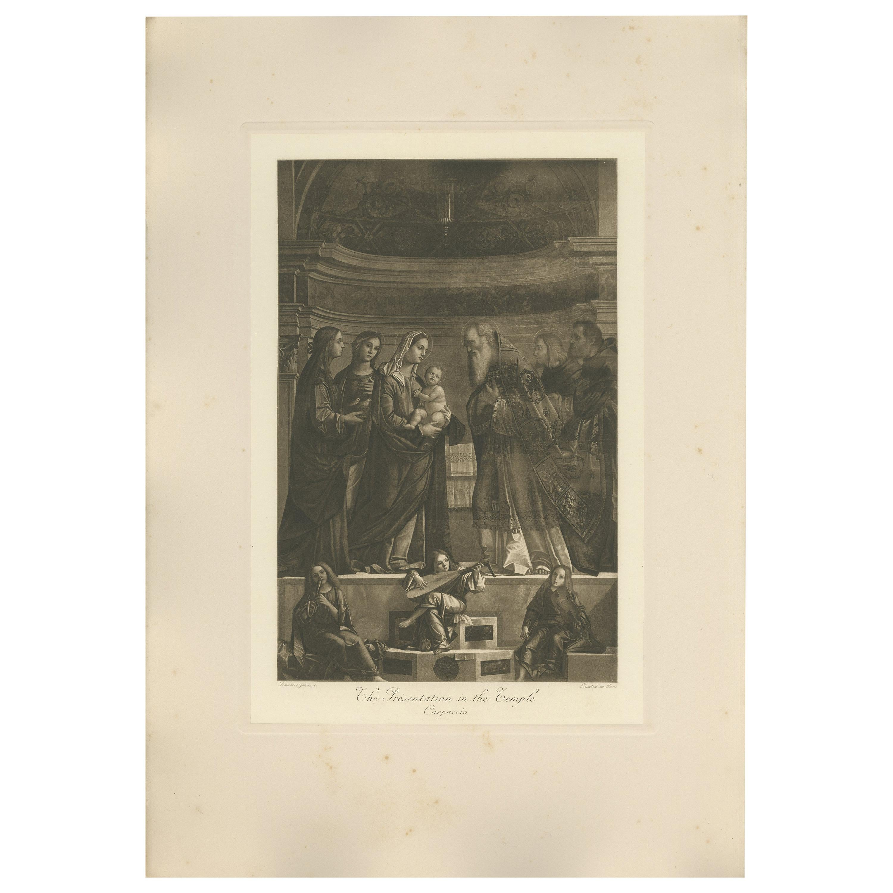 Antique Print 'The Presentation in the Temple' Made After Carpaccio, circa 1890