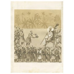 Antique Print of the Presentation of Dara Shukoh's Head by Ferrario '1831'