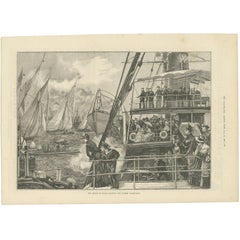 Antique Print of the Prince of Wales Starting the Jubilee Yacht-Race, 1887