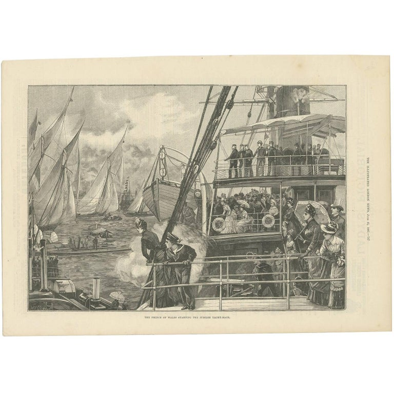 Antique Print of the Prince of Wales Starting the Jubilee Yacht-Race, 1887 For Sale