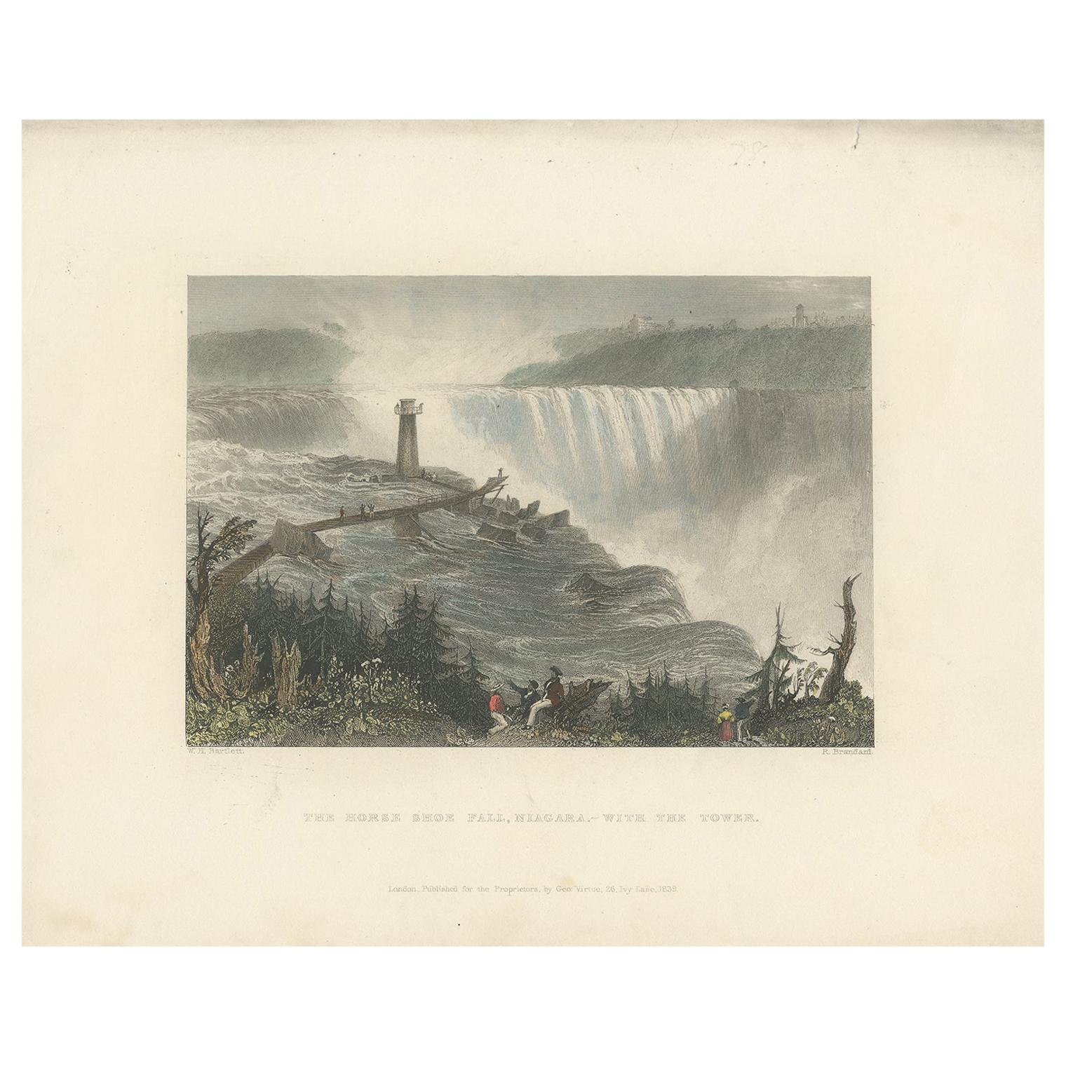 Antique Print of the Rapids of the Horseshoe falls by Brandard, 1839