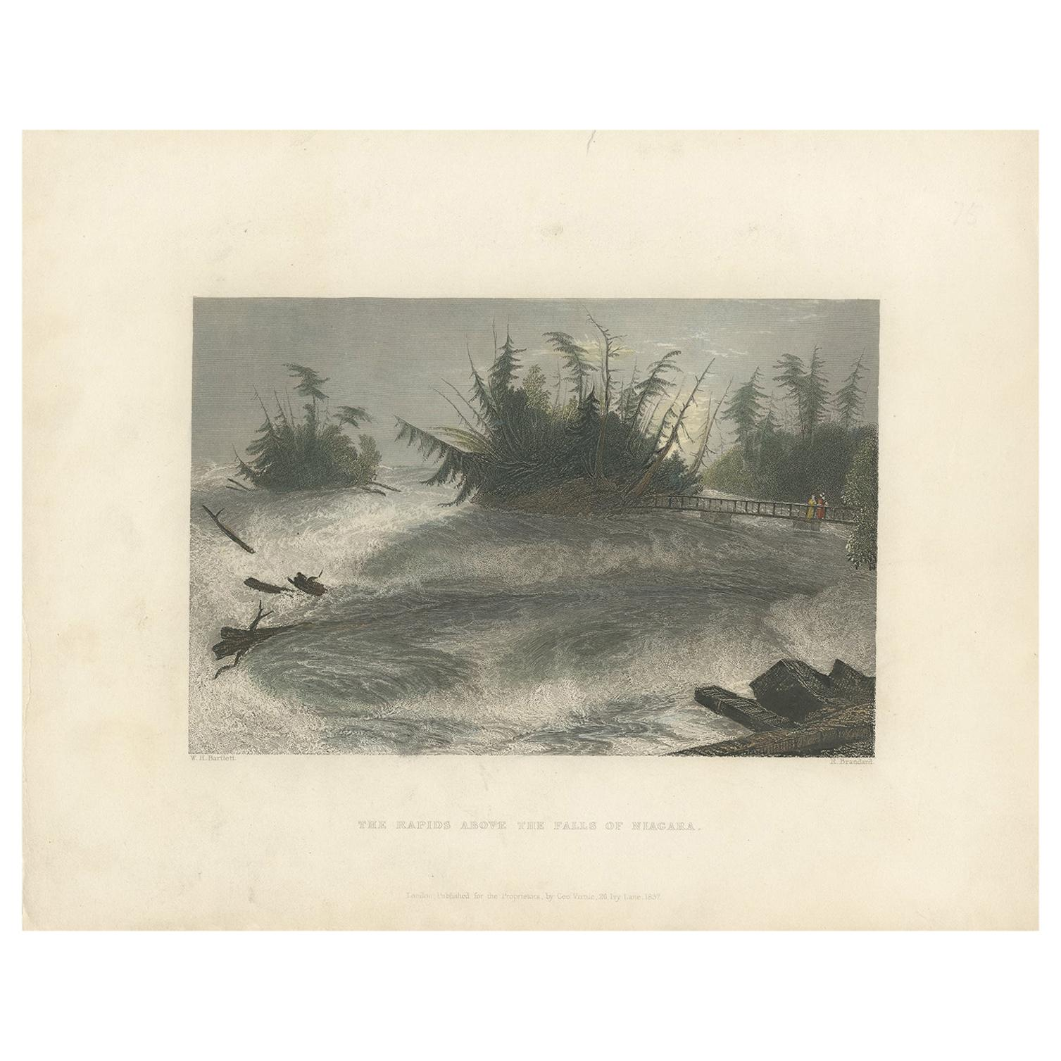 Antique Print of the Rapids of the Niagara Falls by Brandard, 1837