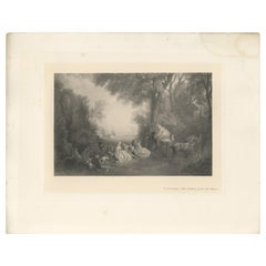 Antique Print of 'The Return from the Chase' Made After a. Watteau, 1902