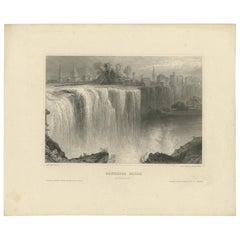 Antique Print of the Rochester High Falls 'circa 1850'