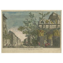 Antique Print of the Ruins of the Temple of Jupiter Tonans by Berthault 'c.1770'