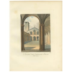 Antique Print of the St. Ambrose Church in Milan by Bonnard, 1860