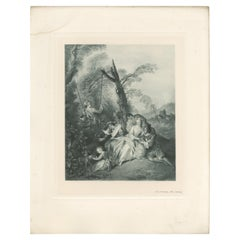 Antique Print of 'The Swing' Made after J.B.J. Pater '1902'