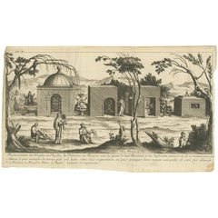 Antique Print of the Temples and Pagodas in Tunquin by Tavernier, '1679'