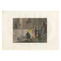 Antique Print of the Tomb of Joseph of Arimathea by Ferrario '1831'