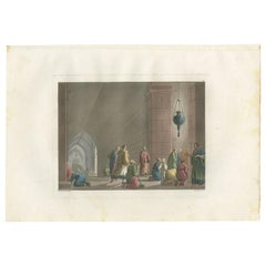 Antique Print of the Tomb of the Virgin Mary by Ferrario '1831'