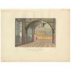 Antique Print of the Tribunal of Balia, 14th Century, by Bonnard, 1860