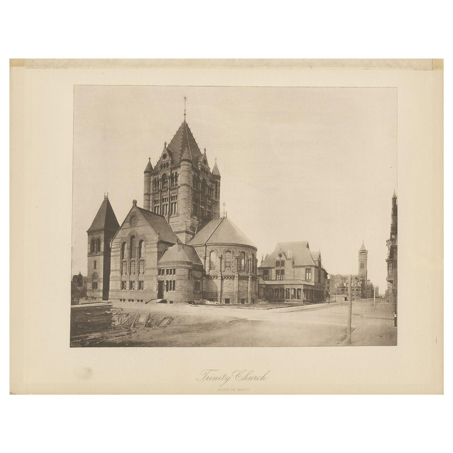 Antique Print of the Trinity Church in the city of Boston, 1887