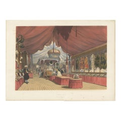 Antique Print of the Turkish Stand at the Great Exhibition by Dickinson, '1854'