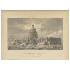Antique Print of the United States Capitol by Johnson '1872'